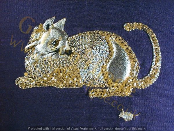 Cat Goldwork Kit,  Starter Goldwork Embroidery
