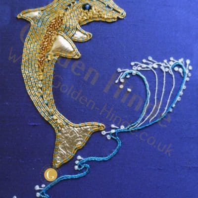 Dolphin Goldwork Kit,  Starter Goldwork Embroidery
