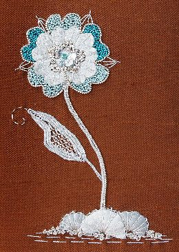 Blue Fantasy Chart, Goldwork Embroidery